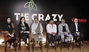 "Lahore: Maryam Mohiuddin,Nuria Iqbal ,Masarrat Misbah,Adnan Zahid,R.M.Nadeem,Dr,Usman Bhatty sitting on stage during ""Tie Crazy Hero,s to the Crazy Ones"" organised by Tie Lahore Chapter(The Indus Entrepreneurs) at local hotel."