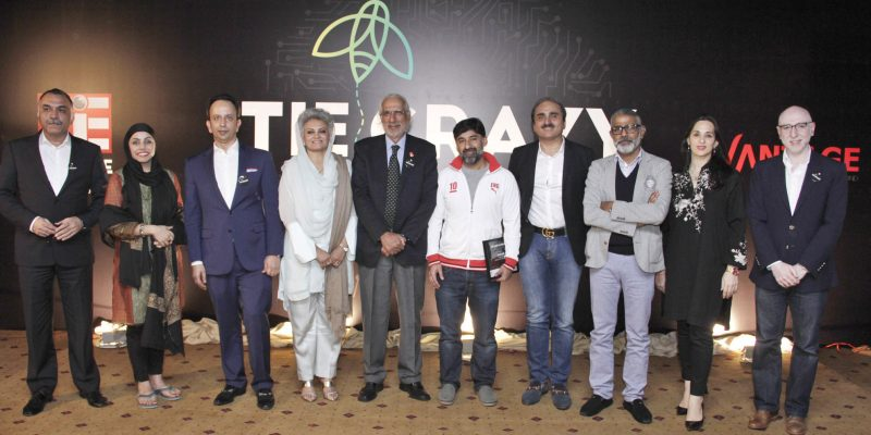 """Lahore: President Humayun Mazhar,Max Babri,R.M.Nadeem,Maryam Mohiuddin,Dr,Usman Bhatty,Masarrat Misbah,Adnan Zahid,Nuria Iqbal seen in a group photo during """"Tie Crazy Hero,s to the Crazy Ones"""" organised by Tie Lahore Chapter(The Indus Entrepreneurs) at local hotel."""